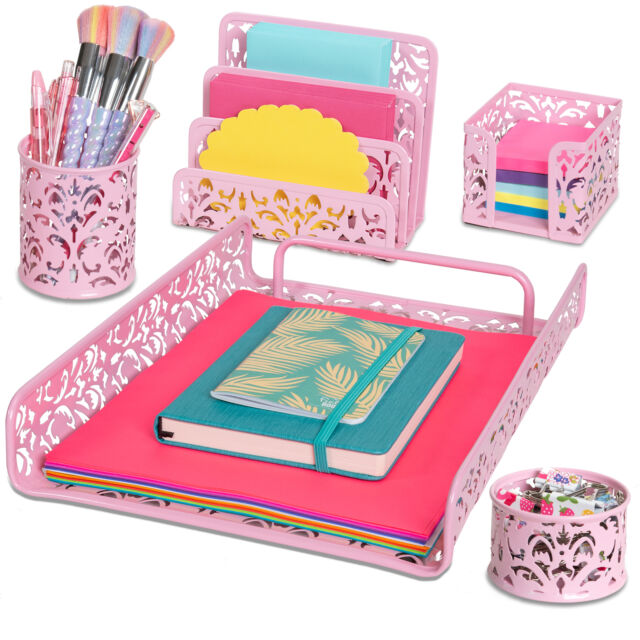 Pc Metal Desk Accessories Organizer, Pink Metal School Desk