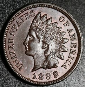 1888-INDIAN-HEAD-CENT-AU-BU-UNC-With-A-TOUCH-OF-MINT-LUSTER