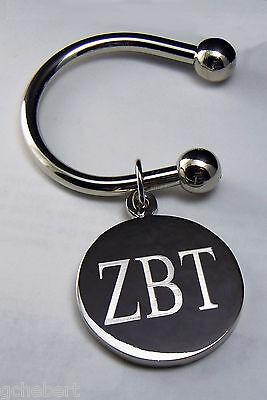 Zeta Beta Tau, ΖΒΤ, Key Ring Greek Letter Silver Plate Disk Non Tarnish