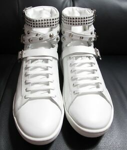 1162bb97 Details about SAINT LAURENT COURT STUDDED HIGH TOP WHITE LEATHER SNEAKERS  SIZE 41