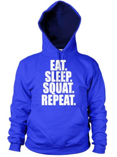 EAT SLEEP SQUAT HOODIE FUNNY LEG DAY EXERCISE TRAINING TOP GYM BODYBUILDER GIFT