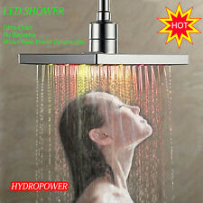 "8"" Square Water Bath Rain Shower Head  LED Lamp 7 Colors Jump Change Glow Chrome"