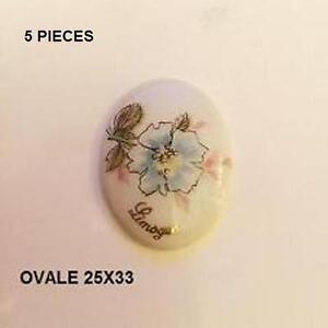 5 Plaques Porcelaine Limoges 25/33 Mm Ovale - Rose Tfhab6s5-08001017-732650714