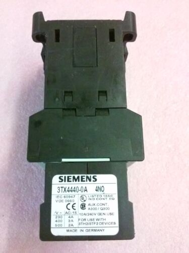 SIEMENS Contact Block 3TX4440-0A with Auxiliary Contactor 3TH2040-0BB4