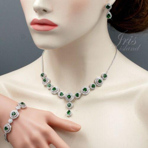 Emerald Green Cubic Zirconia Necklace Bracelet Earrings Jewelry Set Gift 2597
