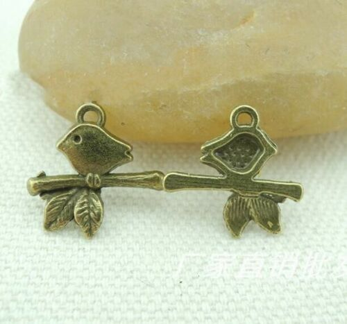 10pcs antiqued bronze color crafted bird on branch design drop  charms  1685