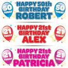2 x PERSONALISED BIRTHDAY BANNER 3ft - 36