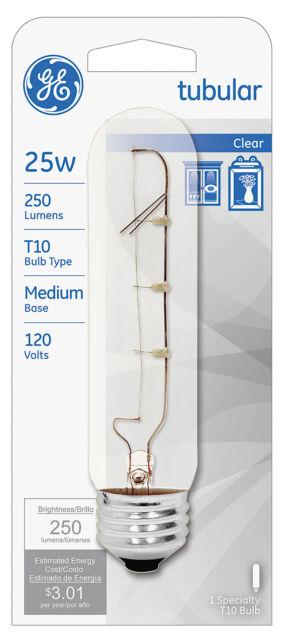 GE 45144  Incandescent T10-25W//120V Tubular Light Bulb-Clear Med Base No-Tax