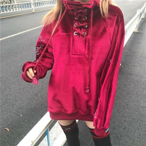 Spring Long Sleeve Womens Lace Up Hoodie Pull Over Cross Oversize Tops Shirt Sz