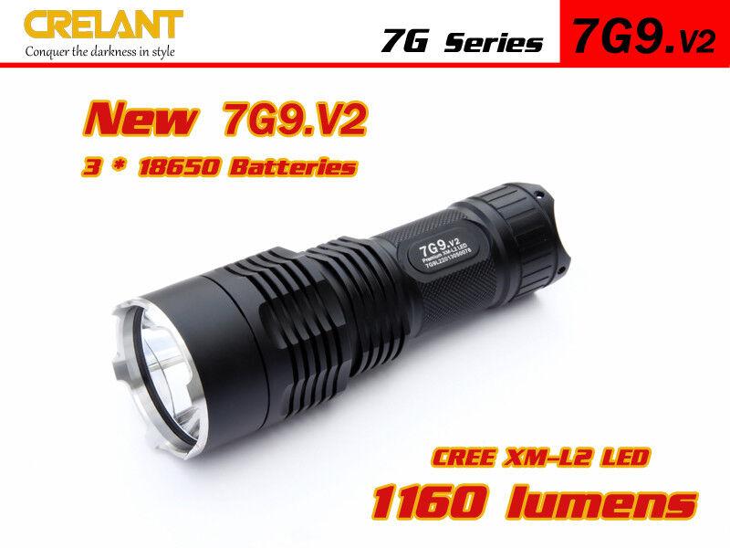 Crelant 7g9.v2 l2 3-mode 1160 lúmenes linterna LED + 3x 18650 Li ion