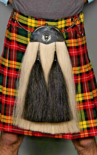 CK Scotland Original Horse Hair Dress Sporran White Black Tassels