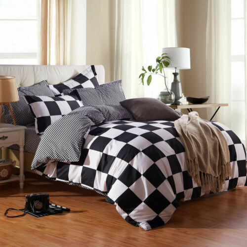2018 Simple Black White Check Single Double King Bedding Sets Duvet Covers NEW