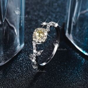 18K-White-Gold-GF-0-5-carat-women-039-s-wedding-Ring-Simulated-pale-yellow-Diamond