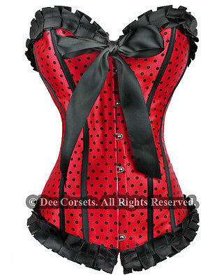 BURLESQUE RED DOTS SATIN LACE UP CORSET BUSTIER A G-STRING SIZE S M L XL XXl