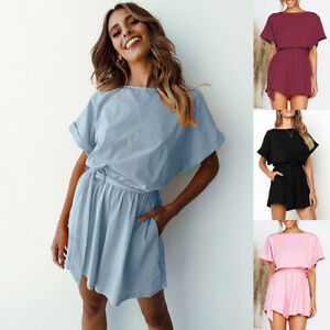 Women-Ladies-Holiday-Summer-Mini-Jumpsuit-Playsuit-Romper-Beach-Trousers-Shorts