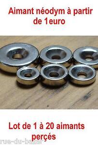 Lots-1-a-20-aimants-Neodyme-perce-pour-visser-trou-cylindre-puissant-N42-MAGNET