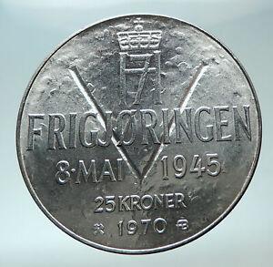 1970-NORWAY-KING-Olav-V-Haakon-VII-Norwegian-25-KR-Silver-25-Kronor-Coin-i82010