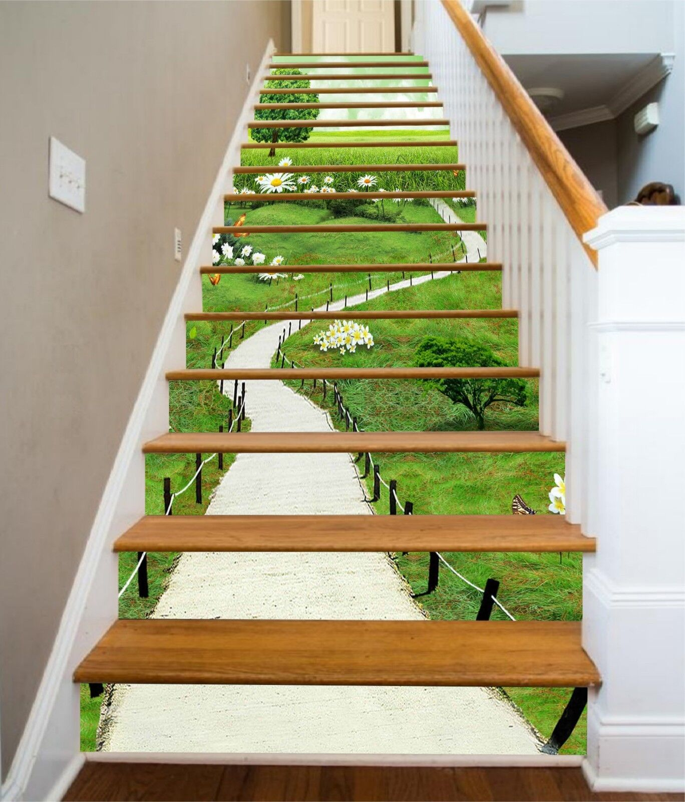 3D Lawn Road Green Stair Risers Decoration Photo Mural Vinyl Decal Wallpaper US