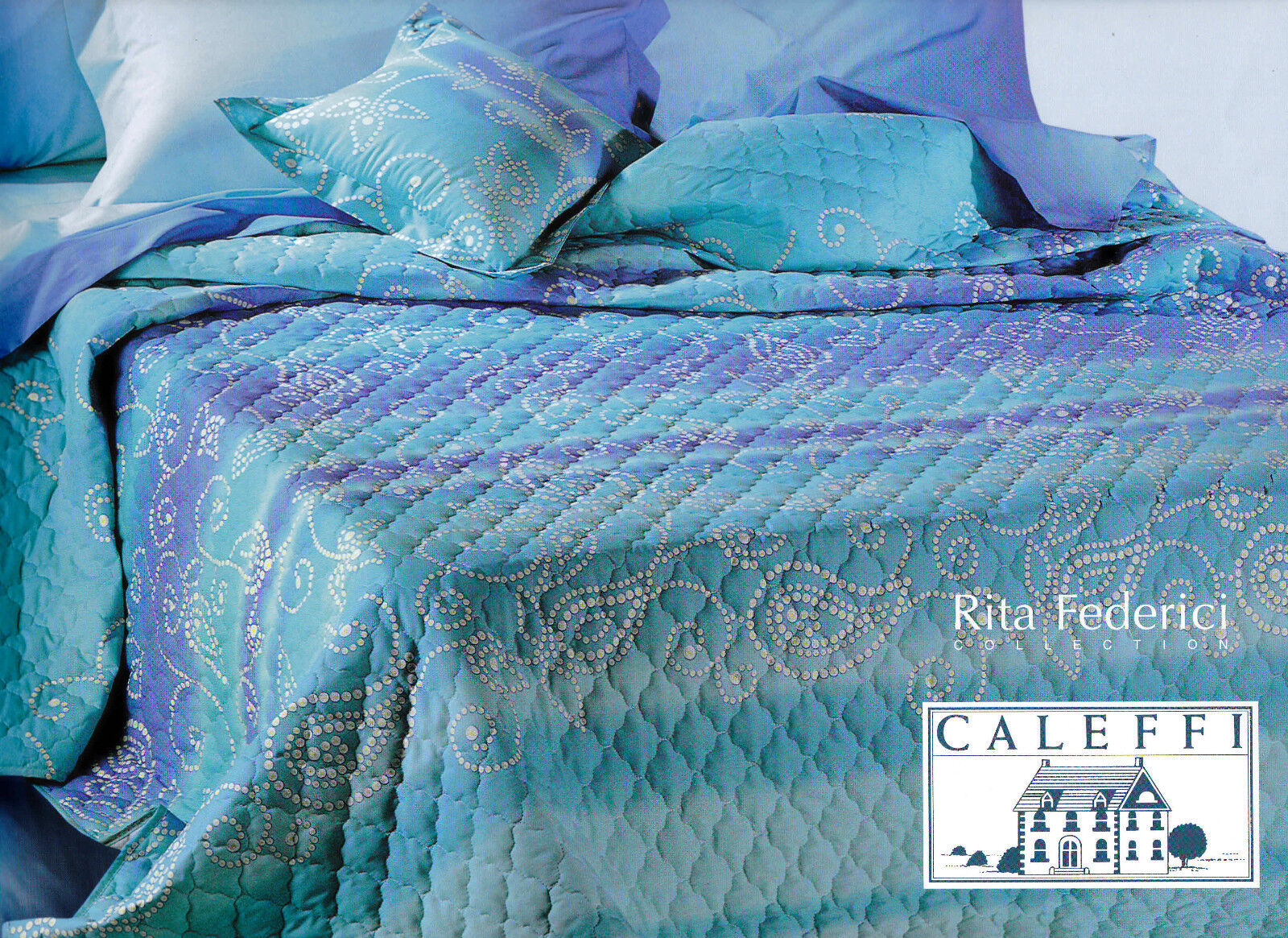 Quilted bedspread - Quilt. CALEFFI - MALIBU. Single, 1 square. bluee