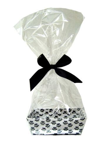 10 x MINI Pet Gift Hamper Kits DOG PAW PRINTS Cardboard Tray Cello Bag /& Bow