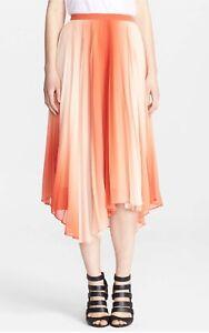 58313ed5ce59 Image is loading Alice-Olivia-Norris-Chiffon-Pleated-Midi-Skirt-Orange-