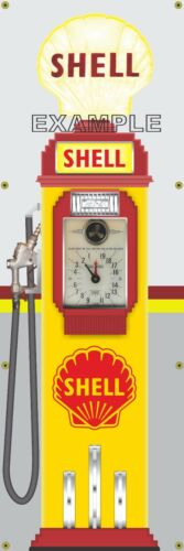 SHELL STATION OLD GAS PUMP TOKHEIM CLOCKFACE BANNER SIGN MURAL GARAGE ART 2'X6'