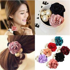 Femme-Rose-Fleur-Perles-Chouchou-elastique-Bande-Bandeau-Cheveux-Ponytail-Corde