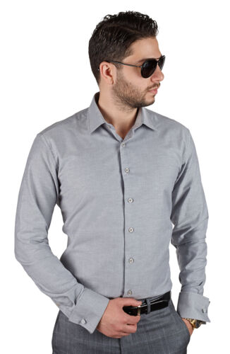 Slim Fit Mens French Cuff Grey Dress Shirt Wrinkle-Free By AZAR MAN Tailored