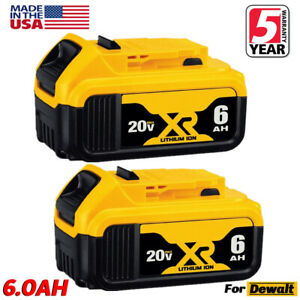 2XFor DeWalt 20V 20 Volt Max XR 6.0AH Lithium Ion Battery Pack DCB200-2 DCB206-2