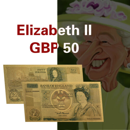 WR Old British £50 Fifty Pounds Note 24KT Gold Colored Banknotes Bank Of England