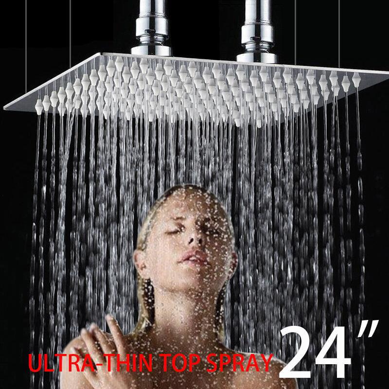 Support plafond GRAND 24  en acier inoxydable salle de bain carré Pluie Tête De Douche
