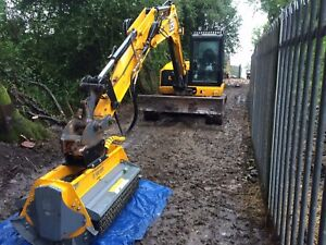 Details about Jcb excavator with flail mower attachment - hire