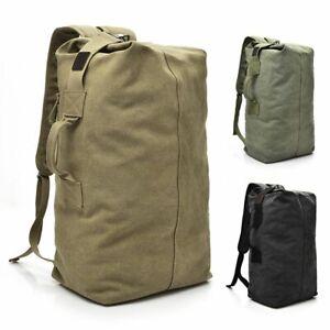 25L Men's Canvas Backpack Duffle Bag Rucksack Hiking Travel Military Satchel