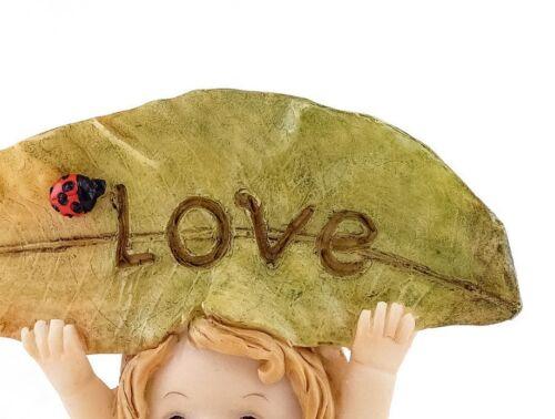 "Little Fairy Caroline Holding /""LOVE/""  Leaf Sign TO 4728 Miniature Fairy Garden"