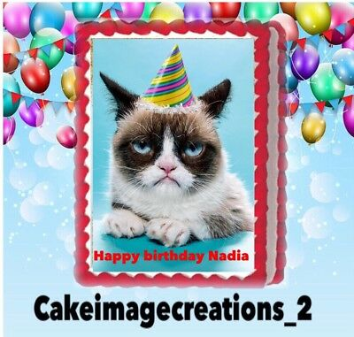 Miraculous Grumpy Cat Birthday Party Edible Cute Cake Topper 1 4 Frosting Funny Birthday Cards Online Elaedamsfinfo