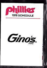 1978 PHILADELPHIA PHILLIES GINO'S BASEBALL POCKET SCHEDULE