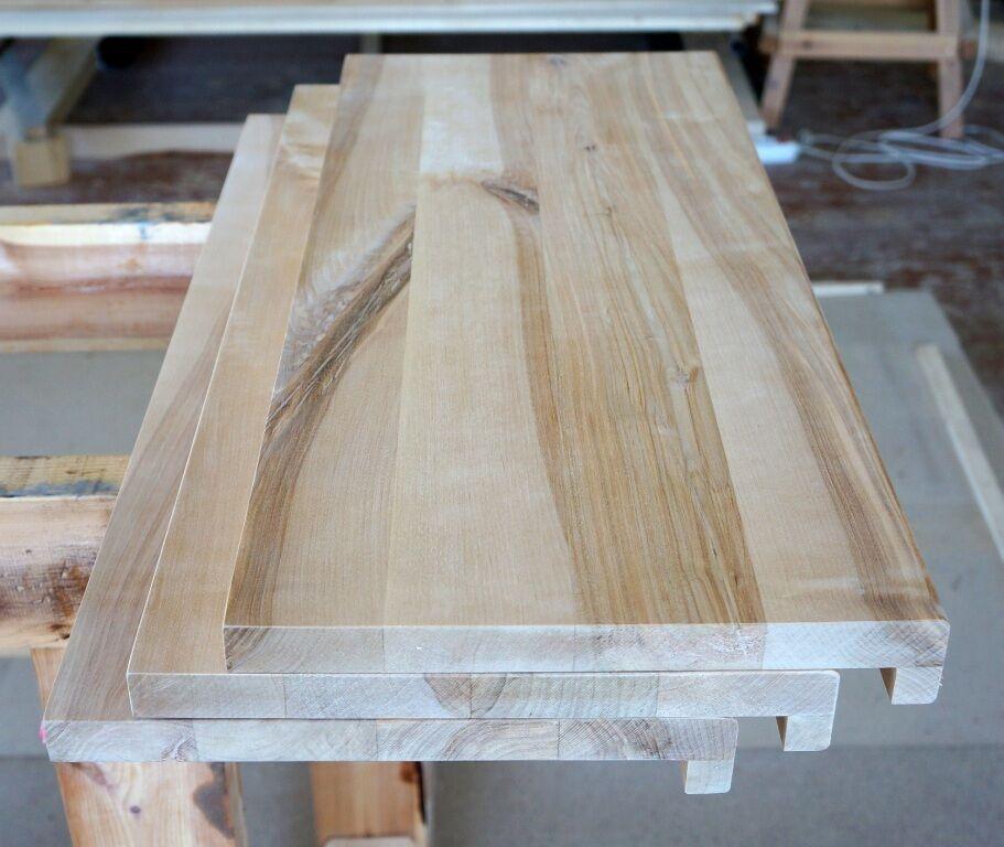 Fensterbank Massivholzplatte Leimholz Birke Rustikal 26 mm durchgehende Lamellen