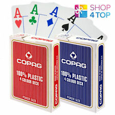 2 Decks of Copag 4 Colour 100 Plastic Jumbo Index Poker Cards - 1 Red 1 Blue