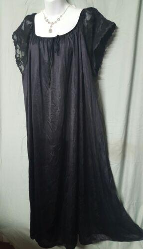 "Ventura Black Long Nightgown BUY 3 GET 1 FREE   Short Sleeve Plus Sz 2X 60/"" BUST"