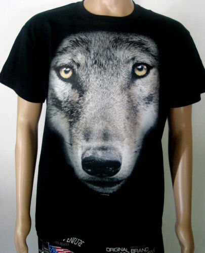 "T-shirt /""Loup/"" tête-Grand Motif S M L XL XXL Neuf"