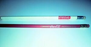 Vintage-Coca-Cola-Pencils-Lot-of-2-1-Burgundy-1-White-Never-Sharpened