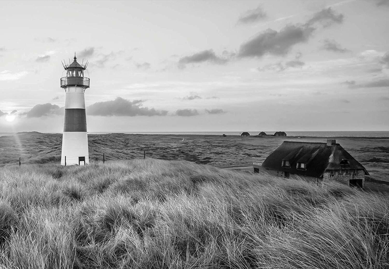 VLIES Fototapete-LEUCHTTURM-(11677)-Wiese Meer Ostsee Nordsee Gras Schwarz-Weiß