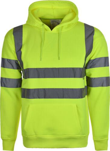 Men Hi Vis High Visibility Sweatshirt Hooded Jumper Fleece Workwear Hoodie S-5XL