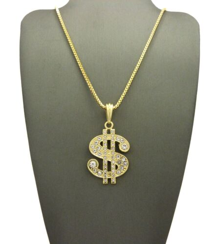 """ICED OUT DOLLAR SIGN PENDANT /& 24/"""" BOX//CUBAN//ROPE CHAIN HIP HOP NECKLACE XSP69G"""