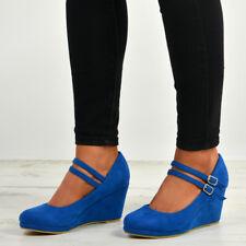4b281771abf0 item 3 Womens Ladies High Wedge Heel Pumps Platform Double Strap Shoes Size  Uk 3-8 -Womens Ladies High Wedge Heel Pumps Platform Double Strap Shoes  Size Uk ...