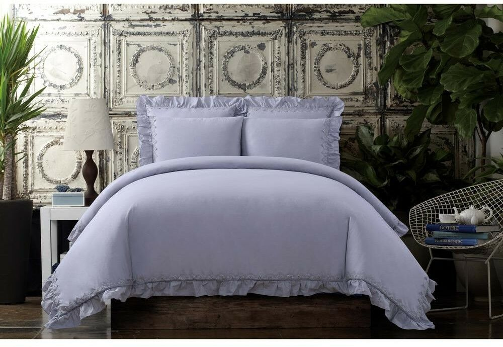 Comforter and Pillow Set Cotton Voile Fabric Full Queen, Ruffled Edge, Lavender