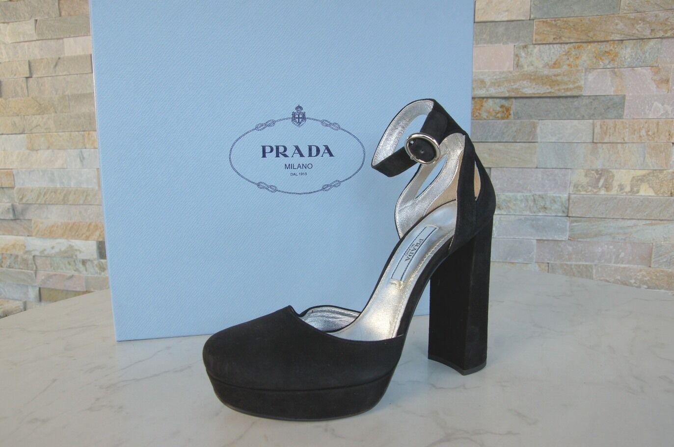 Prada Sz. 40 Platform Pumps Evening shoes High Heels shoes Black New Previously