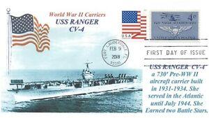 Uss-Ranger-CV-4-US-Navy-Guerra-Mundial-II-Portador-Foto-Cachet-Primer-Dia-Pm