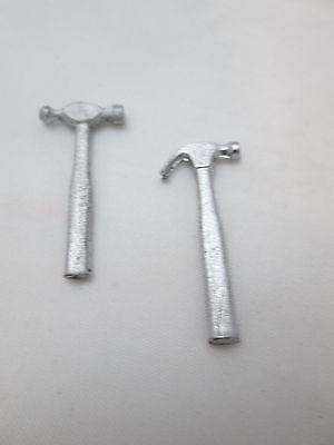 2 Dollhouse Miniature Unfinished Metal Ball Peen Hammers