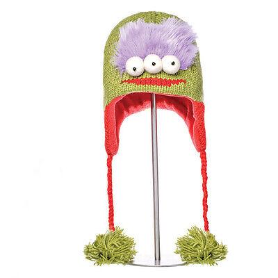 Delux Al the Alien Lime Green Winter Warm Wool Knit Adult Pilot Hat Knitwits NWT